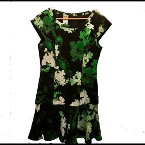 ALI RO, green floral silk cocktail dress, size 6.